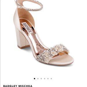 Badgley Mischka Embellished Block Heel Sandal 8